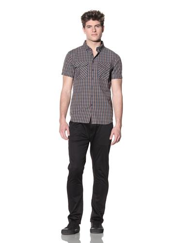 ZAK Men's Short Sleeve Woven Shirt (Blue)