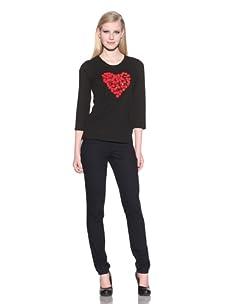 Michael Simon Women's 3/4 Sleeve Heart Top (Black)