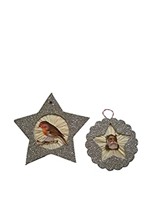 Wendy Addison Set of Two Glass Glitter Hold To Light Ornaments