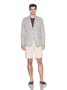 Barque Men's Lightweight Check Double Cloth Classic Blazer (Grey Check)