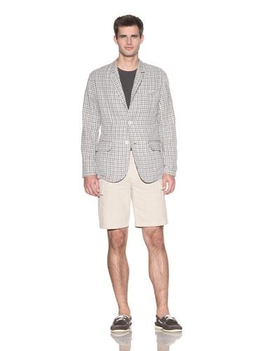 Barque Men's Lightweight Check Double Cloth Classic Blazer (Grey Check)