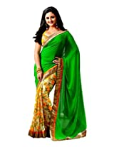 Roop Kashish Faux Georgette Saree With Blouse Piece (Rkvi15181 -Green Yellow)