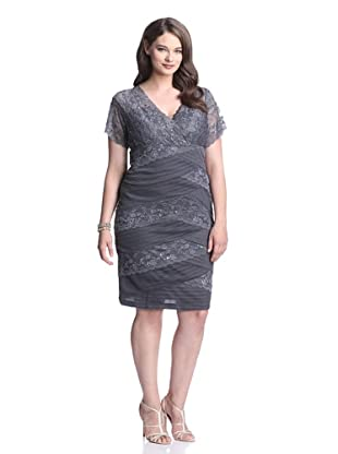 Marina Plus Women's Beaded Stretch Lace V-Neck Dress (Gun)