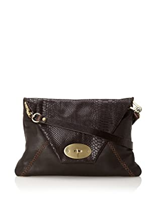 Carla Mancini Women's Oversized Clutch with Shoulder Strap (Brown Snake)