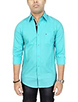 AA' Southbay Men's Aqua 100% Oxford Premium Cotton Long Sleeve Solid Casual Shirt