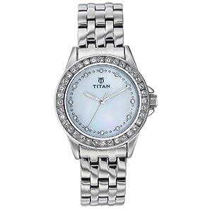 Titan Purple Analog White Dial Women's Watch - NE9798SM02J