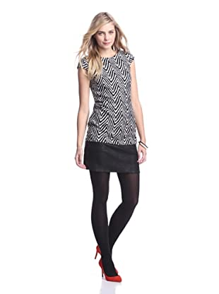 Muse Women's Herringbone Combo Dress (Black/White)