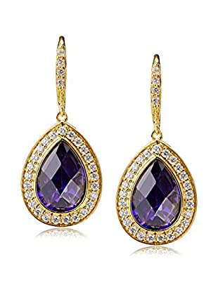 CZ by Kenneth Jay Lane Purple Pear/Round CZ Delicate Dangle Earrings