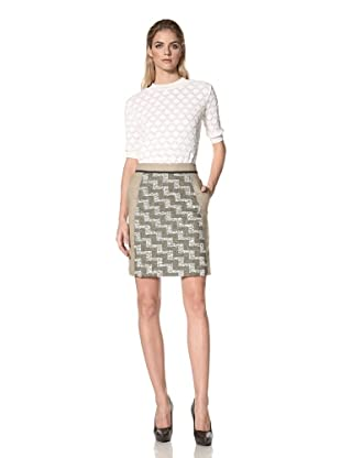 DEREK LAM Women's A-Line Skirt with Linen Panels (Moss)