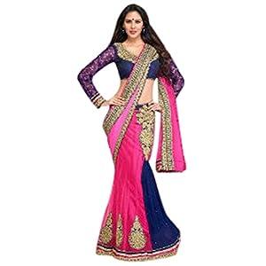 Designer Pink & Blue Colour Chiffon + Net Partywear Lehenga Saree