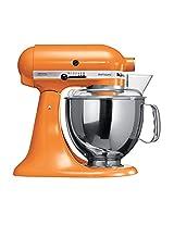 KitchenAid Artisan 5KSM150PSDTG 10 Speed 4.8 Litre (5Qt) 300 Watt Tilt Head Stand Mixer with Flat Beater, Dough Hook, Whisk, Stainless Steel Bowl & Pouring Shield (Tangerine)