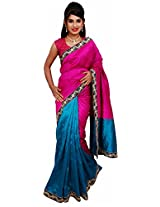 Diva Women's Cotton Silk Saree (Magenta and Peacock Green )