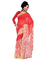 Riti Riwaz Red & White saree with unstitched blouse RVL334A