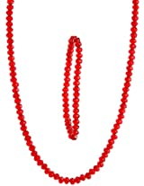 Exotic India Red Beaded Necklace with Stretch Bracelet Set -