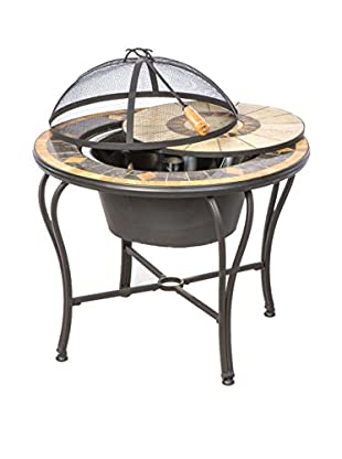 Alfresco Home Compass Mosaic Fire Pit & Beverage Cooler Table, Charcoal