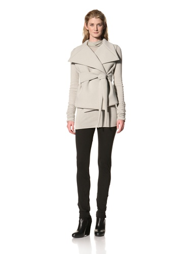 RICK OWENS Women's Oversized Collar Belted Jacket (Pearl)