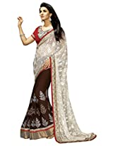 Manvaa Simplistic Off White And Brown saree with blouse piece