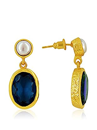 Rendez-Vous Ohrringe  goldfarben/weiß/blau
