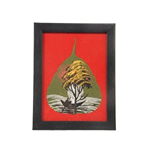 Creative Box Leaf Painting - Boating by the Moonlight