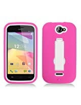 Aimo Wireless Progressive Guerilla Armor Case with Built-in Kickstand for BLU Advance 4 0 A270A - Retail Packaging - White/Hot Pink