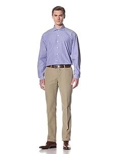 Domenico Vacca Men's Striped Button-Up Shirt (Blue/Medium White Stripes)