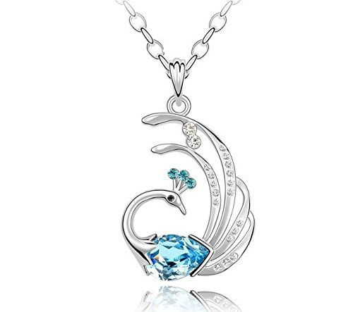 GirlZ! Awesome Blue Crystal Peacock Silver Finish Pendant - With Chain. High Quality Crystal