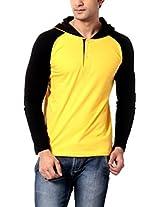 Leana Men's Hooded Cotton T-Shirt (SR62_Yellow Black_XL)