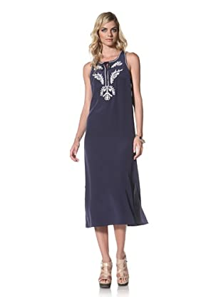 Central Park West Women's Cabo Embroidered Silk Dress (Navy)