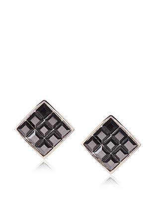 Judith Leiber Black Square Stud Earrings