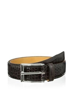 Leone Braconi Men's Crocodile Print Belt (Brown)