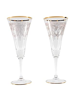 Pair of French Champagne Flutes, Gold/Clear