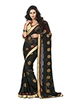 Black Color Jacqaurd & Goergette Saree with Border and Blouse 4004