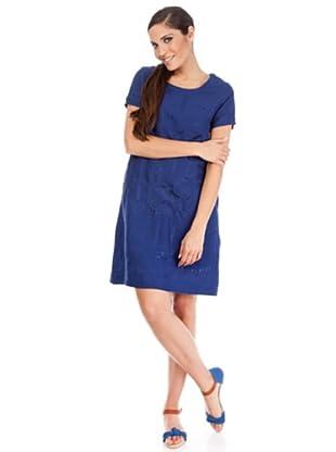 Cortefiel Vestido Bordado (Azul Marino)
