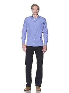Benson Men's Button-Up Shirt with Floral Cuff (Blue)