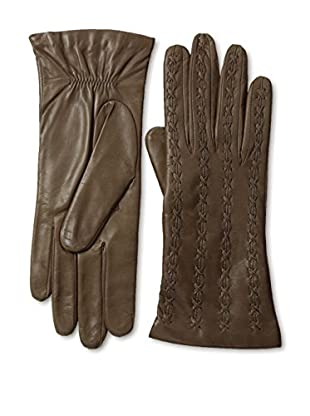 Portolano Women's Stitched Top Leather Gloves (Pine Brown)