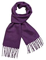 Dahlia Men's Winter Wool Blend Scarf - Classic Solid Color - Purple