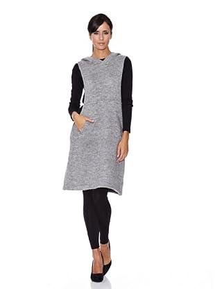 Peace & Love Vestido Tricotosa Capucha (gris)