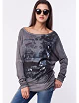 GAS Printed Front Batwing Sleeve Top