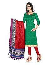 Khushali Presents Art Silk Chudidar Dress Material(Green,Red)