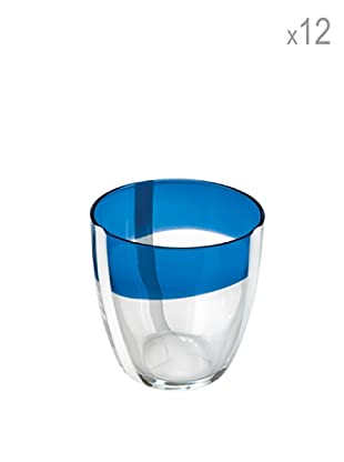 Guzzini Set 12 Bicchieri Vetro Table Art Blu