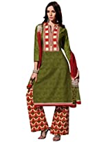 Inddus Women Green & Red Self Designed Plazzo Unstitched Material