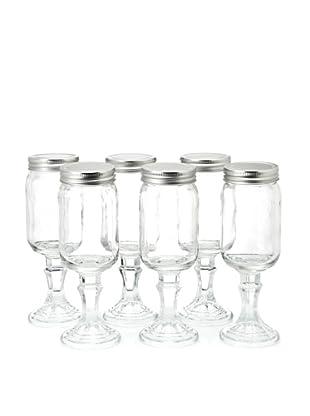 Home Essentials Set of 6 Stemmed Mason Wine Jars, Clear/Silver