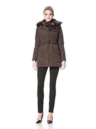 Dawn Levy Women's Zip-Out Fur Down Jacket (Chocolate)