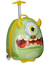 Sunbaby Monster Design Synthetic 41 cms Green Children's Luggage (SB-1018_Green)