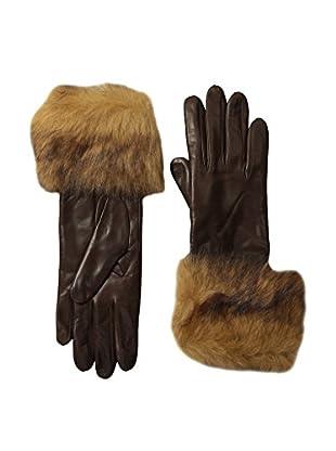 Portolano Women's Cashmere Lined Shearling Cuff Gloves (Cork/Beige)