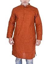 Kalrav Fashion Orange Art Silk Kurta