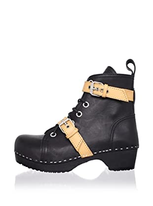 Swedish Hasbeens Women's Double Strap Lace-Up Low Ankle Boot (Black/black)