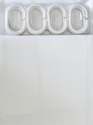 Euro Home Cortina de Baño con 12 Anillas Plástico (Blanco)