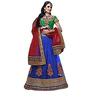 Styles Closet Round Lehenga Choli - Green & Blue & Red