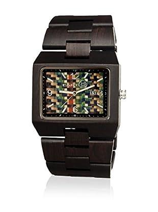 Earth Reloj con movimiento cuarzo japonés Unisex Rhizomes Ethew1206 Marrón Oscuro 46 mm